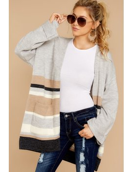 Complete For Winter Grey Multi Stripe Cardigan by Fable