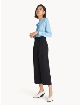Belted High Waist Culottes   Black by Pomelo