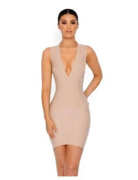 Chain Me Down Cut Out Vinyl Mini Dress In Cream by Oh Polly