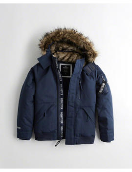 Down Blend Hooded Bomber Jacket by Hollister