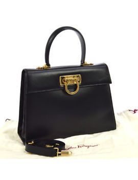 Auth Salvatore Ferragamo Gancini 2way Hand Bag Black Leather Italy Vtg Ak16263 A by Salvatore Ferragamo