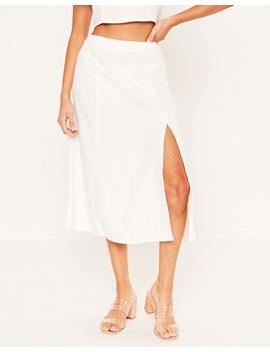 Linen Blend Midi Split Skirt by Glassons