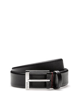 Embossed Leather Belt With Polished Silver Effect Hardware by Boss