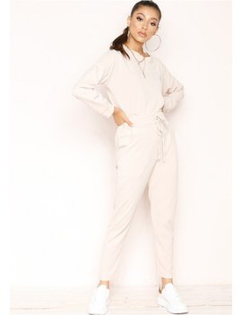 Julie Beige Jumper Loungewear Set by Missy Empire