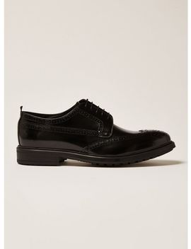Black Premium Leather Orpin Brogues by Topman