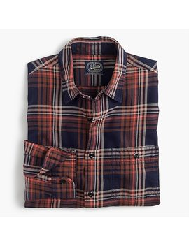 Slim Midweight Flannel Shirt In Rust And Navy Plaid by J.Crew