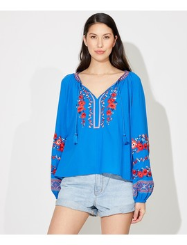Folk Embroidered Blouse by Sportsgirl