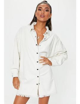 Robe Chemise Blanche En Velours Côtelé by Missguided