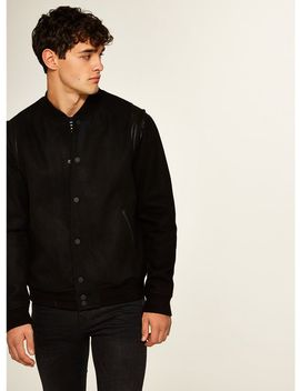 Black Wool Blend Varsity Jacket by Topman