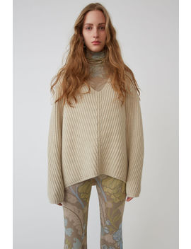 Pullover Mit Tiefem V Ausschnitt Kühles Beige by Acne Studios