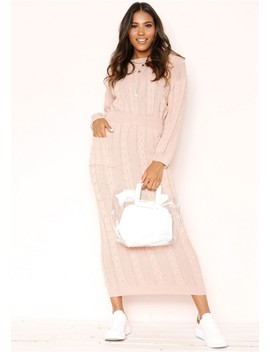 Noara Pink Knit Midi Co Ord Set by Missy Empire