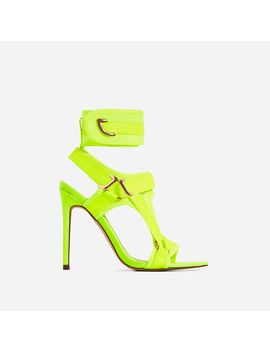Dive In Pointed Cage Heel In Lime Green Lycra by Ego