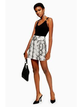 Snake Print Leather Look Belted Mini Skirt by Topshop