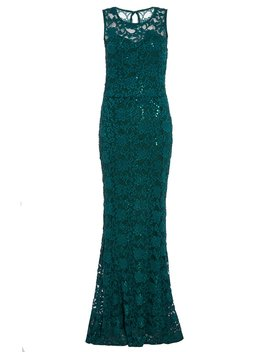 Bottle Green Lace Sequin Fishtail Maxi Dress by Quiz
