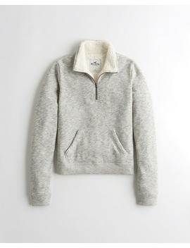 Sherpa Lined Half Zip Sweatshirt by Hollister