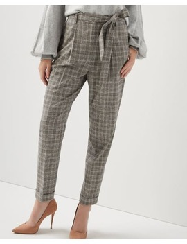 High Waist Flannel Plaid Pleated Pant With Sash by Rw & Co