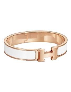 White Rose Gold Enamel Clic Bracelet by Hermès