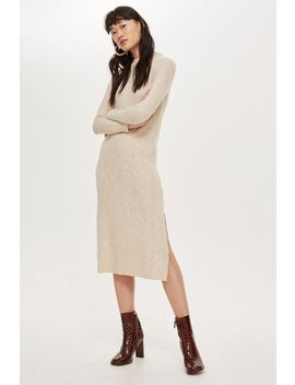 Ribbed High Neck Midi Dress by Topshop