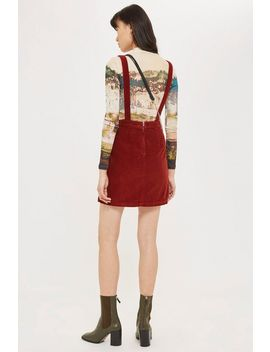 Horn Button Corduroy Pinafore Dress by Topshop