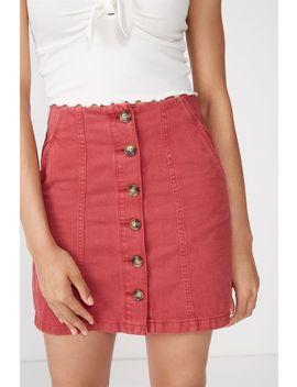 Button Through Denim Skirt by Cotton On