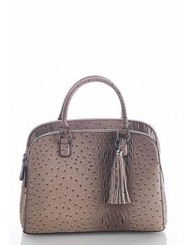Double Compartment Faux Ostrich Satchel by Cato