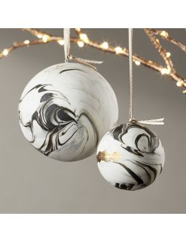 Bone China Swirled Marble Ornaments by Crate&Barrel