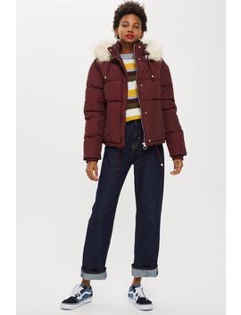 Faux Fur Lined Quilted Puffer Jacket by Topshop