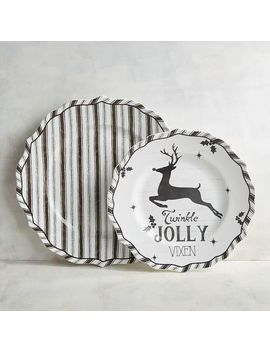 Humbolt Jolly Reindeer &Amp; Striped Dinneware by Pier1 Imports