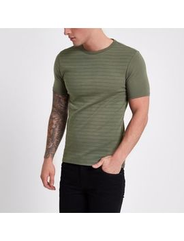 Khaki Green Short Sleeve Muscle Fit T Shirt by River Island