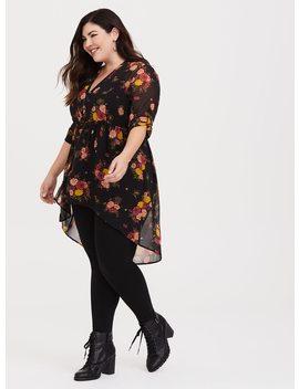 Lexie   Black Floral Chiffon Babydoll Tunic by Torrid
