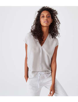 Lou & Grey Silk Double V Top by Lou & Grey