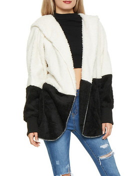 Color Blocked Hooded Sherpa Jacket by Rainbow