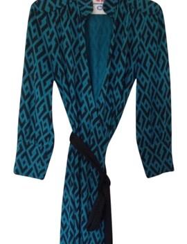 Black And Teal Silk  Cocktail Dress by Diane Von Furstenberg
