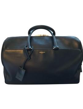 Duffle 12 Hour Black Calfskin Leather Shoulder Bag by Saint Laurent