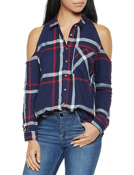 Plaid Cold Shoulder Button Front Shirt by Rainbow