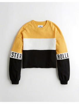 Cutoff Logo Crewneck Sweatshirt by Hollister