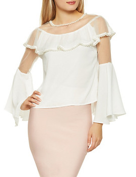 Faux Pearl Studded Blouse by Rainbow