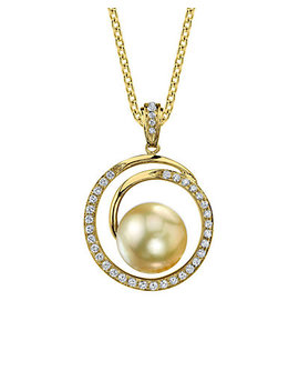 18 K 0.38 Ct. Tw. Diamond & 8.5 9mm South Sea Pearl Pendant by Pearls
