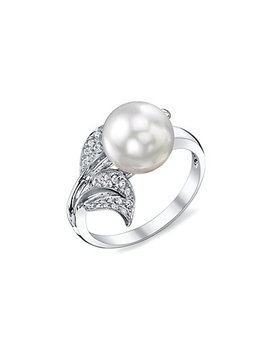 18 K 0.25 Ct. Tw. Diamond & 9mm South Sea Pearl Ring by Pearls