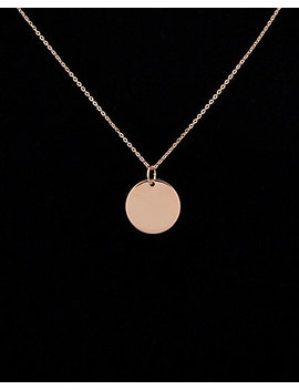 14 K Italian Rose Gold Disc Necklace by Italian Rose Gold