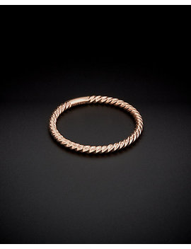 14 K Italian Rose Gold Ribbed Stack Ring by Italian Rose Gold