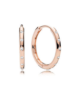 Droplets Hoop Earrings, Pandora Rose™ & Clear Cz Pandora Rose, Cubic Zirconia by Pandora