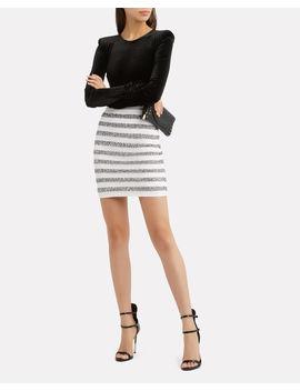 Silver Striped Lurex Mini Skirt by Balmain