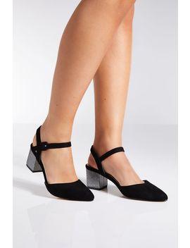 Black Faux Suede Glitter Low Heels by Quiz