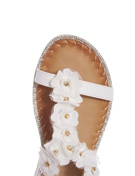 White Fabric Floral Flat Sandals by Quiz