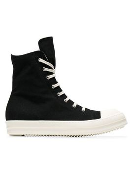 Men's Black Canvas High Top Sneakers by Rick Owens Drkshdw