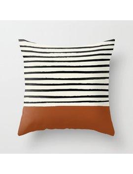 Burnt Orange X Stripes Throw Pillow by