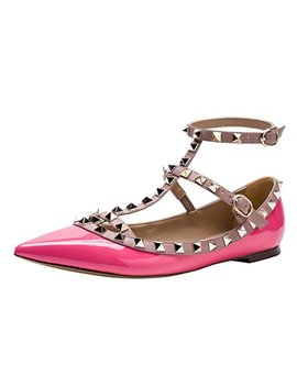 Kaitlyn Pan Studded Strappy Ballerina Leather Flats by Kaitlyn Pan