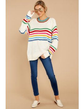 Make It Yours White Rainbow Stripe Top by Listicle