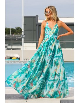 A Different View Turquoise Tropical Print Maxi Dress by Ever After
